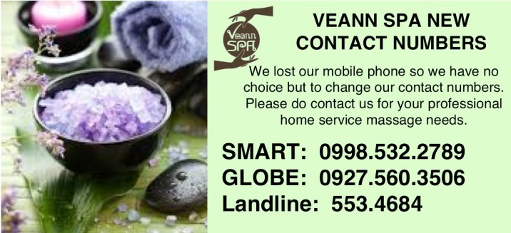 VEANN SPA NEW CONTACT NUMBERS